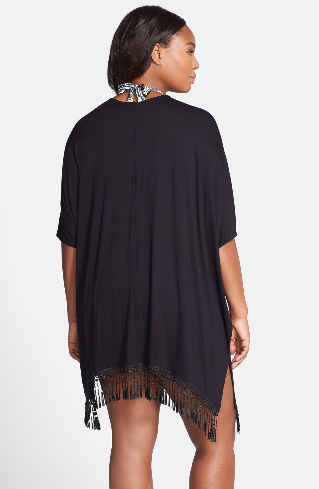 Alternate Image 2  - Becca Etc. Fringe Hem Kimono Sleeve Cover-Up (Plus Size)