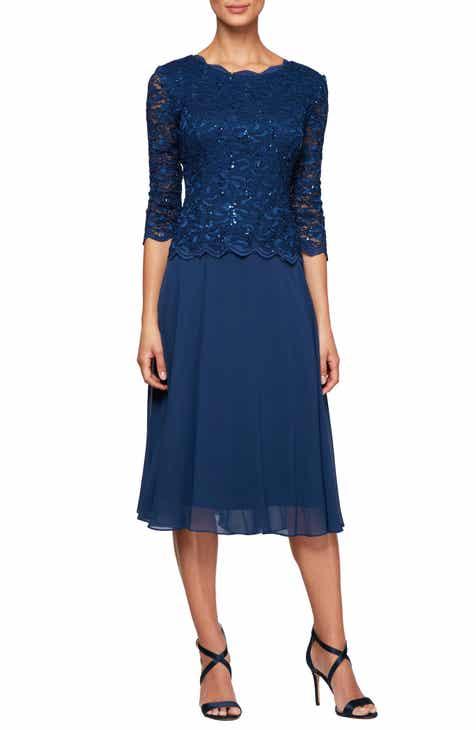 6c4bfdcae88 Alex Evenings Mock Two-Piece Tea Length Dress