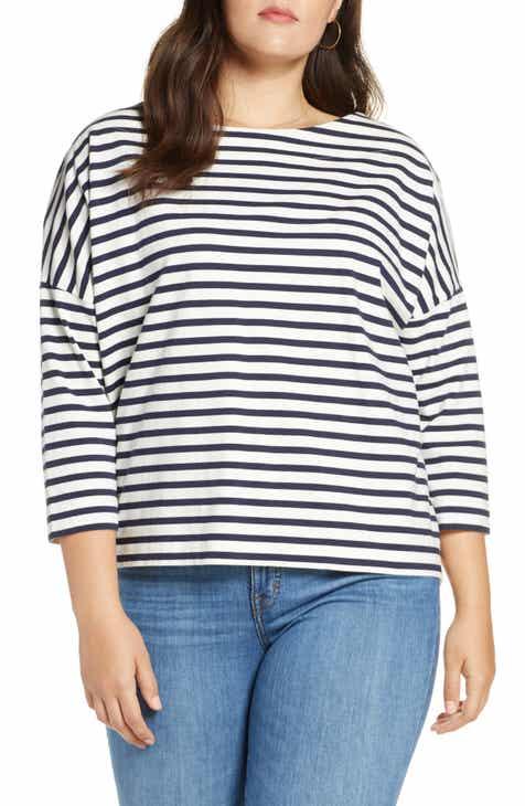 9904761a6947a9 J.Crew Oversize Stripe Tee (Regular   Plus Size)