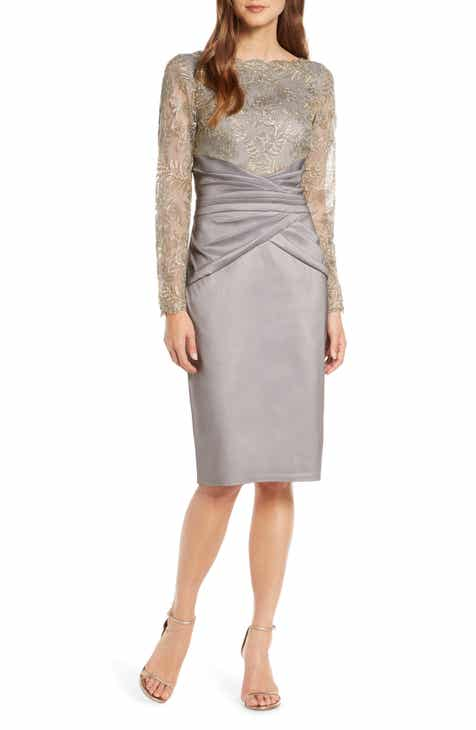 7201c2ab6ae Tadashi Shoji Long Sleeve Embroidered Taffeta Sheath Dress
