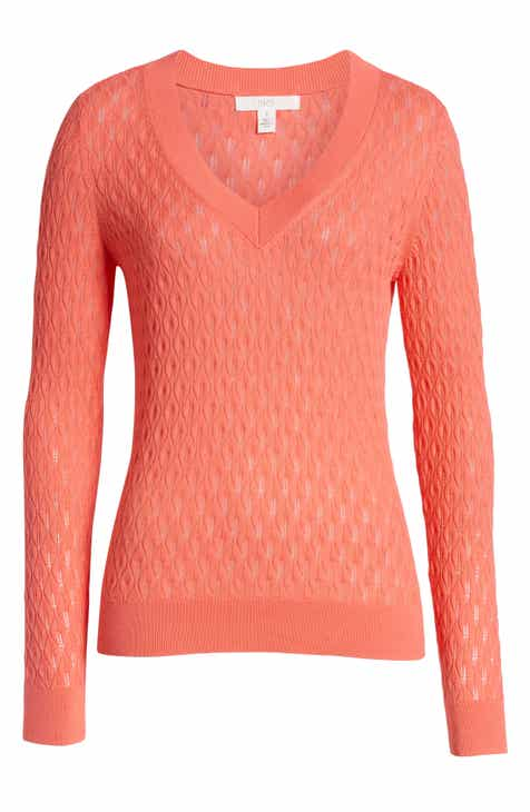 1901 V-Neck Pointelle Sweater (Regular & Petite) by 1901