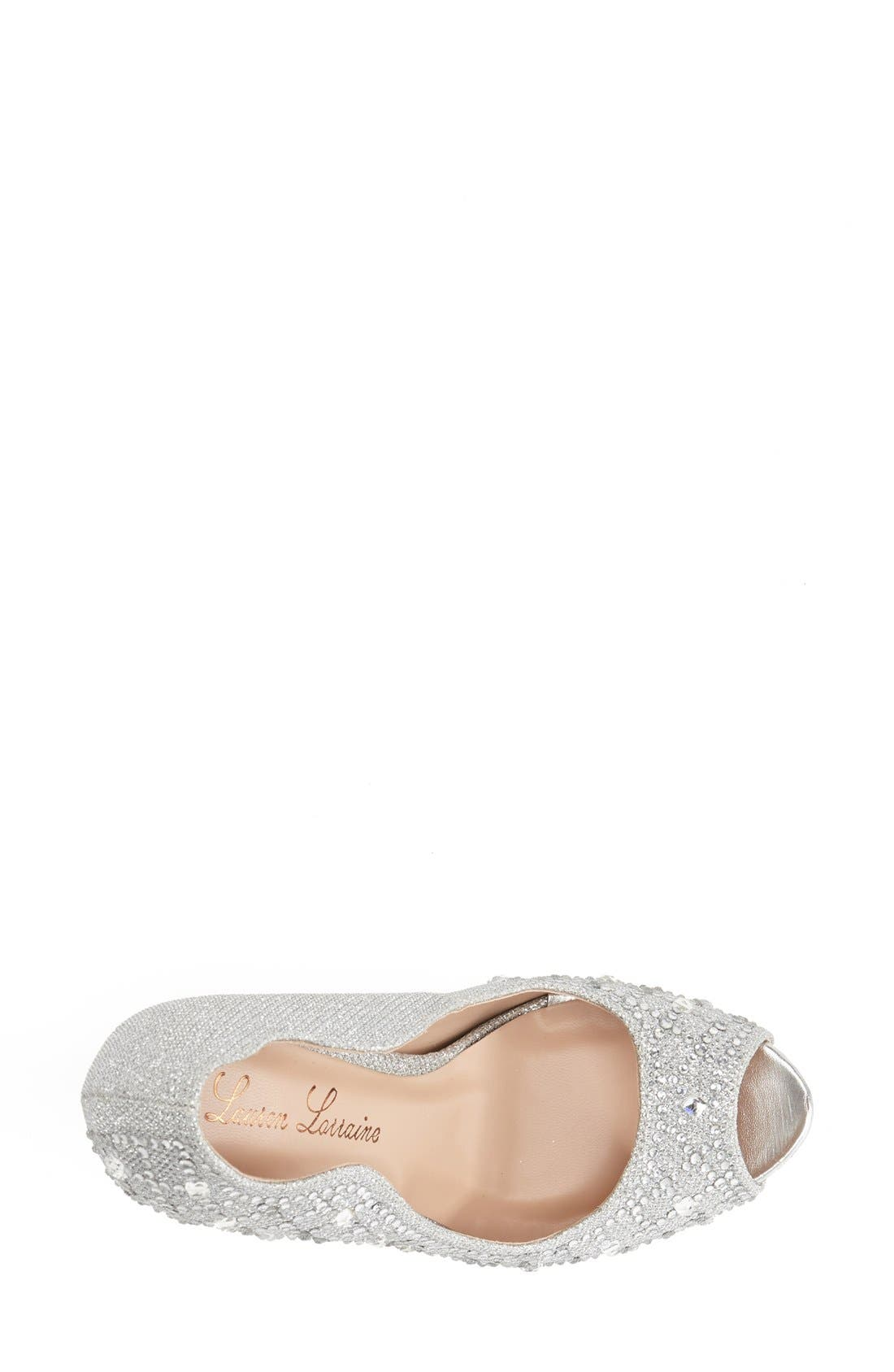 Alternate Image 3  - Lauren Lorraine 'Kylie Jewel' Peep Toe Platform Pump (Women)