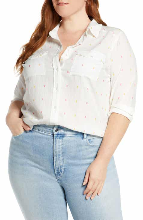 Caslon® High/Low Clip Dot Shirt (Plus Size)