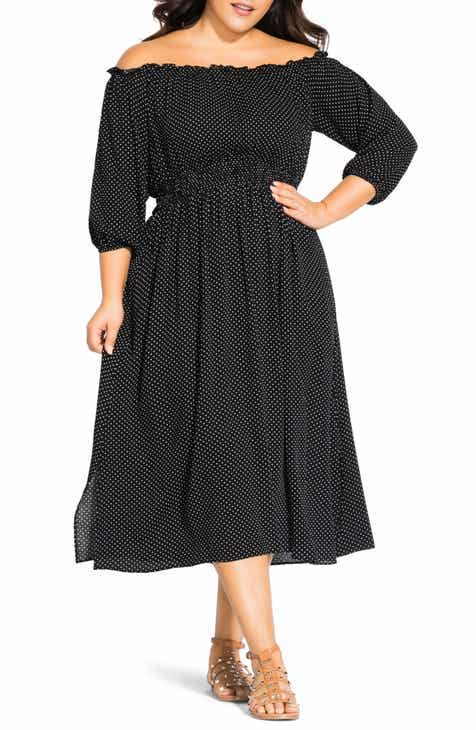 0b860025a0c3 City Chic Pin Sport Off the Shoulder Midi Dress (Plus Size)