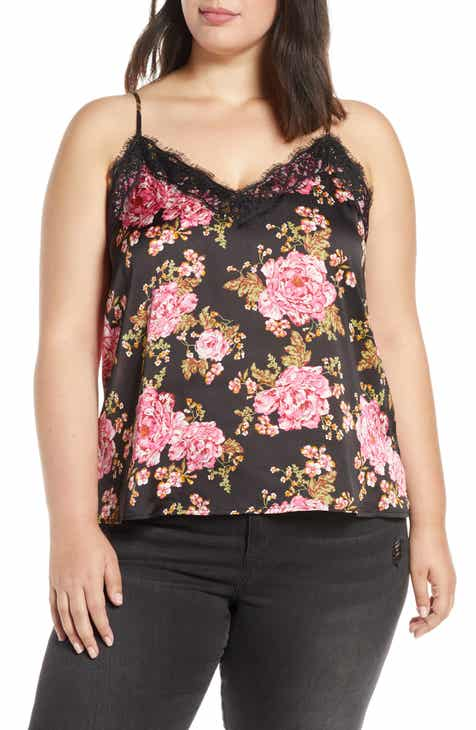 eec81cb714d Lace Trim Satin Camisole Top (Plus Size)