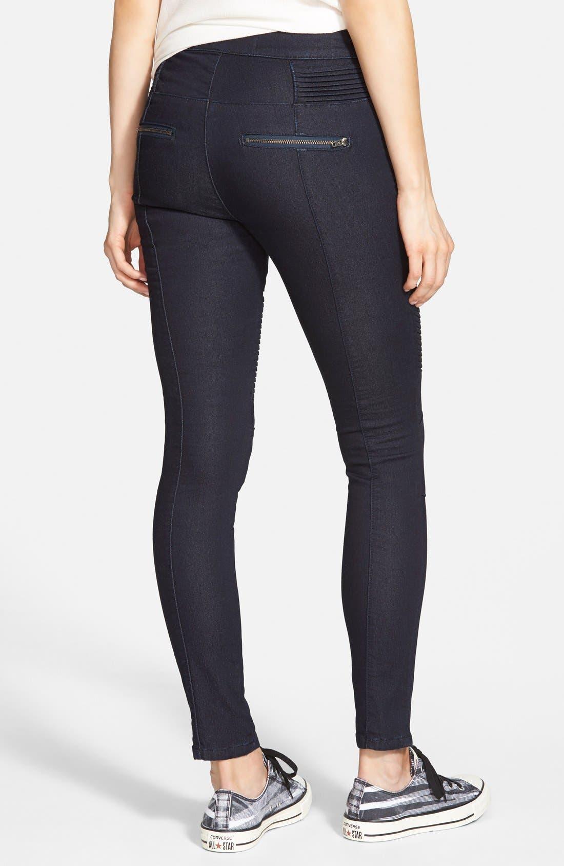 Alternate Image 2  - Standards & Practices 'Sachi' Moto Skinny Jeans (Blue) (Online Only)