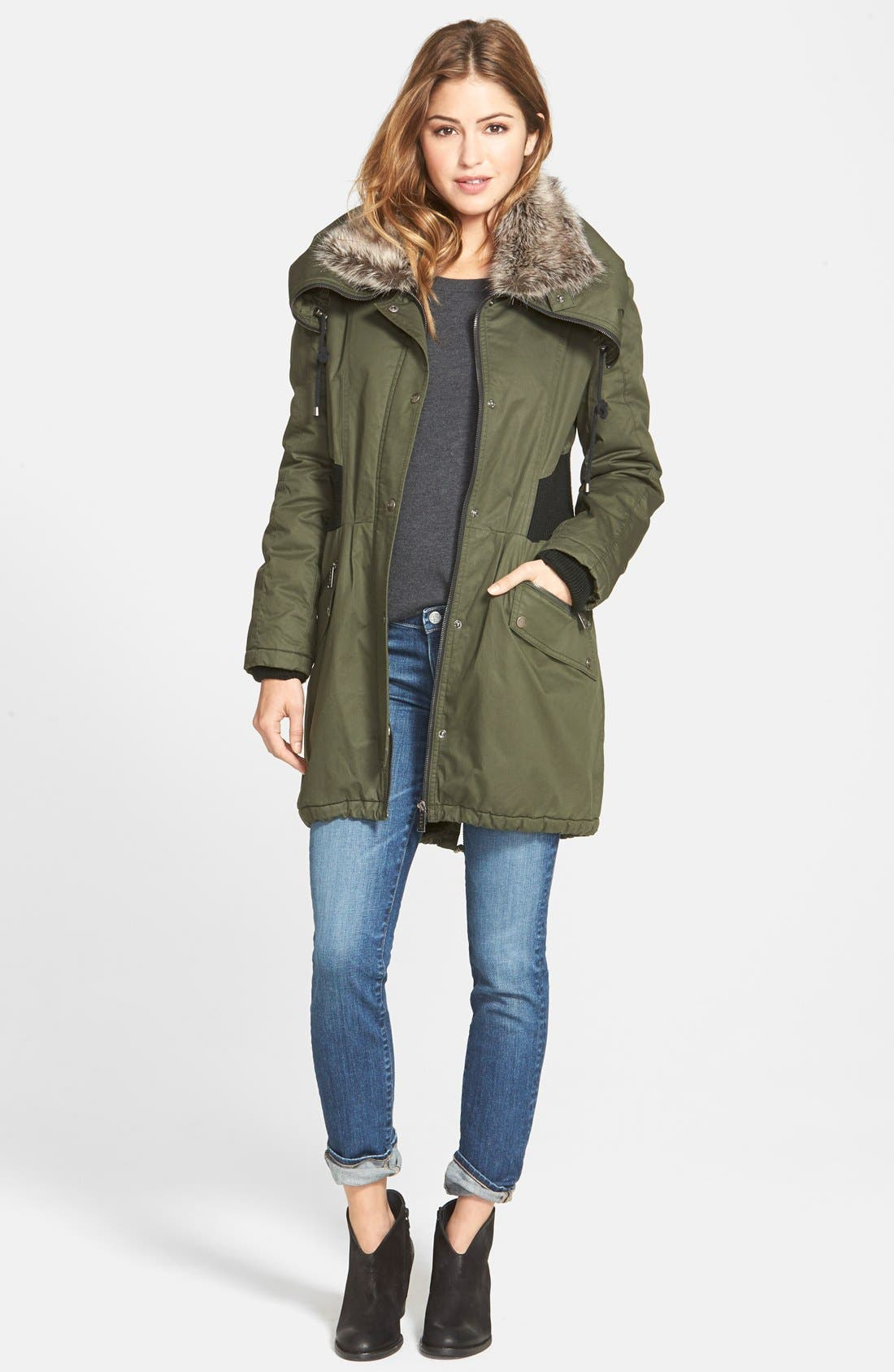 Alternate Image 2  - DKNY Faux Fur Trim Utility Parka