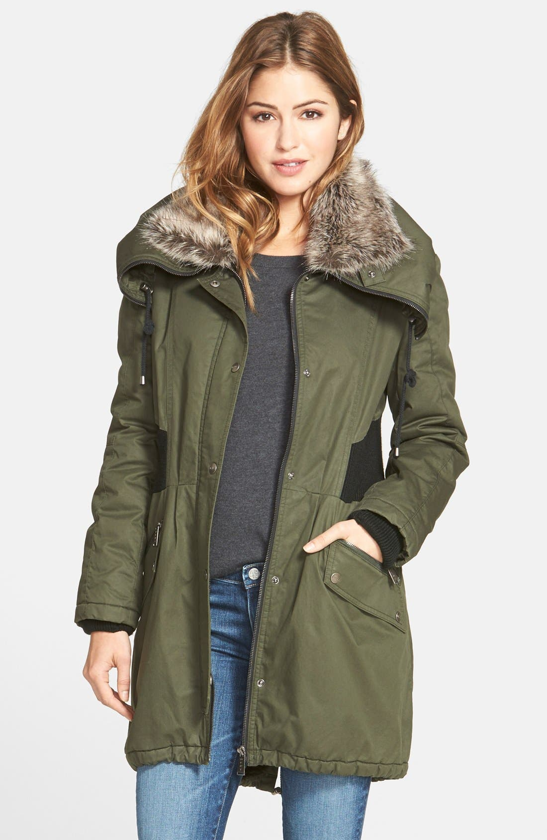 Alternate Image 1 Selected - DKNY Faux Fur Trim Utility Parka