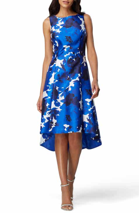 1a7bef54e92e Tahari Sleeveless Printed Mikado High/Low Dress