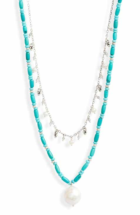 7840bef1d02 Chan Luu Pearl & Turquoise Layered Necklace