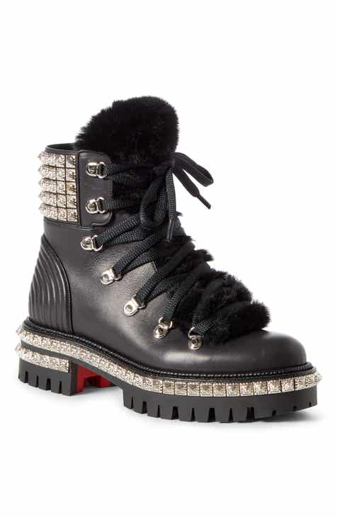 f2376cd12 Christian Louboutin Yeti Studded Hiking Boot with Faux Fur Trim (Women)