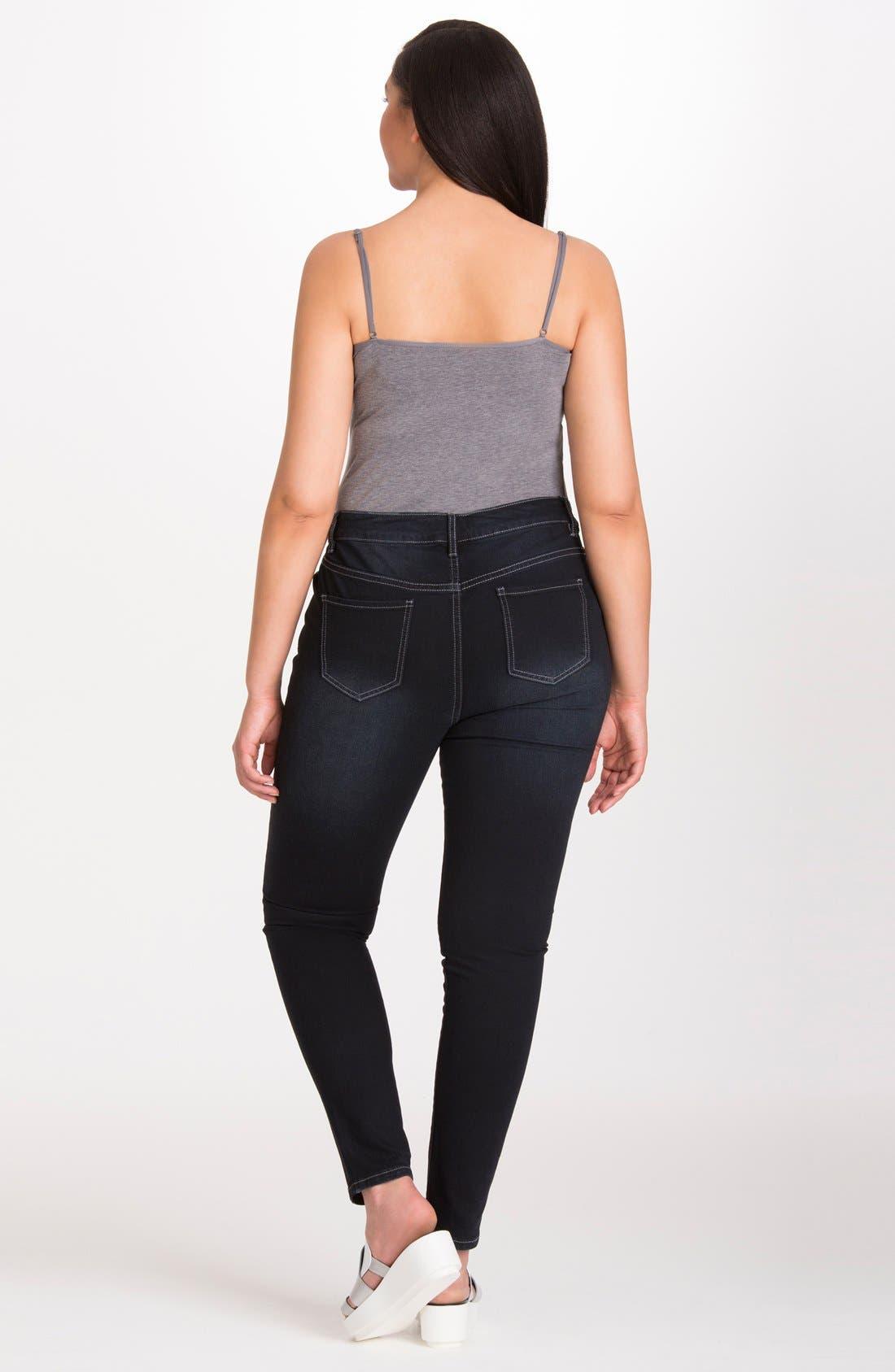 Alternate Image 2  - Mynt 1792 Stretch Distressed Skinny Jeans (Plus Size)
