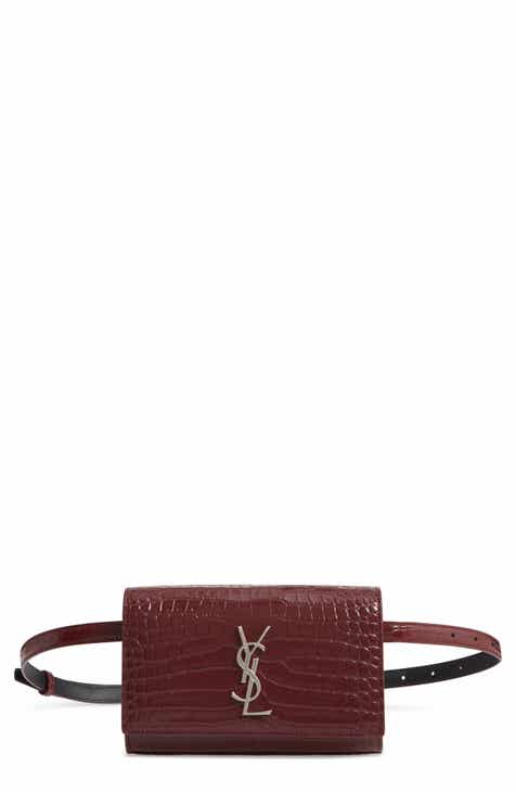 30e7bdfbc Saint Laurent Kate Croc-Embossed Leather Belt Bag