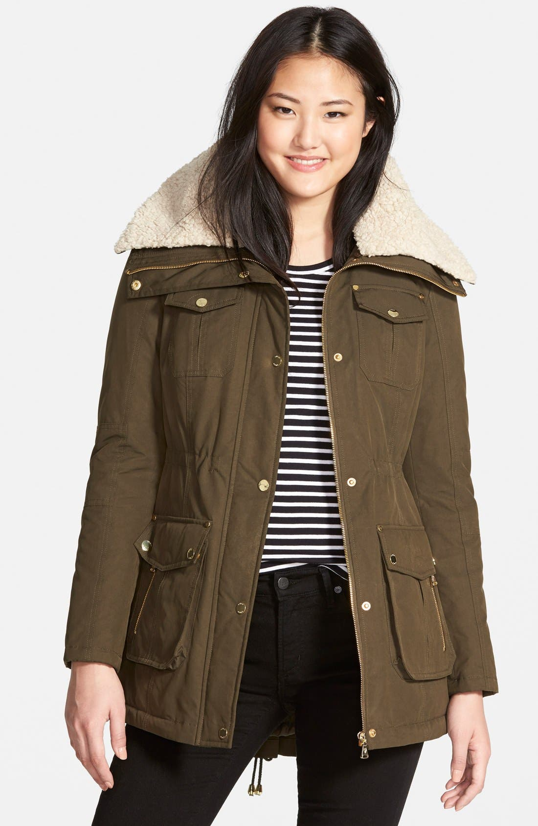 Alternate Image 1 Selected - GUESS Faux Shearling Trim Anorak (Regular & Petite)