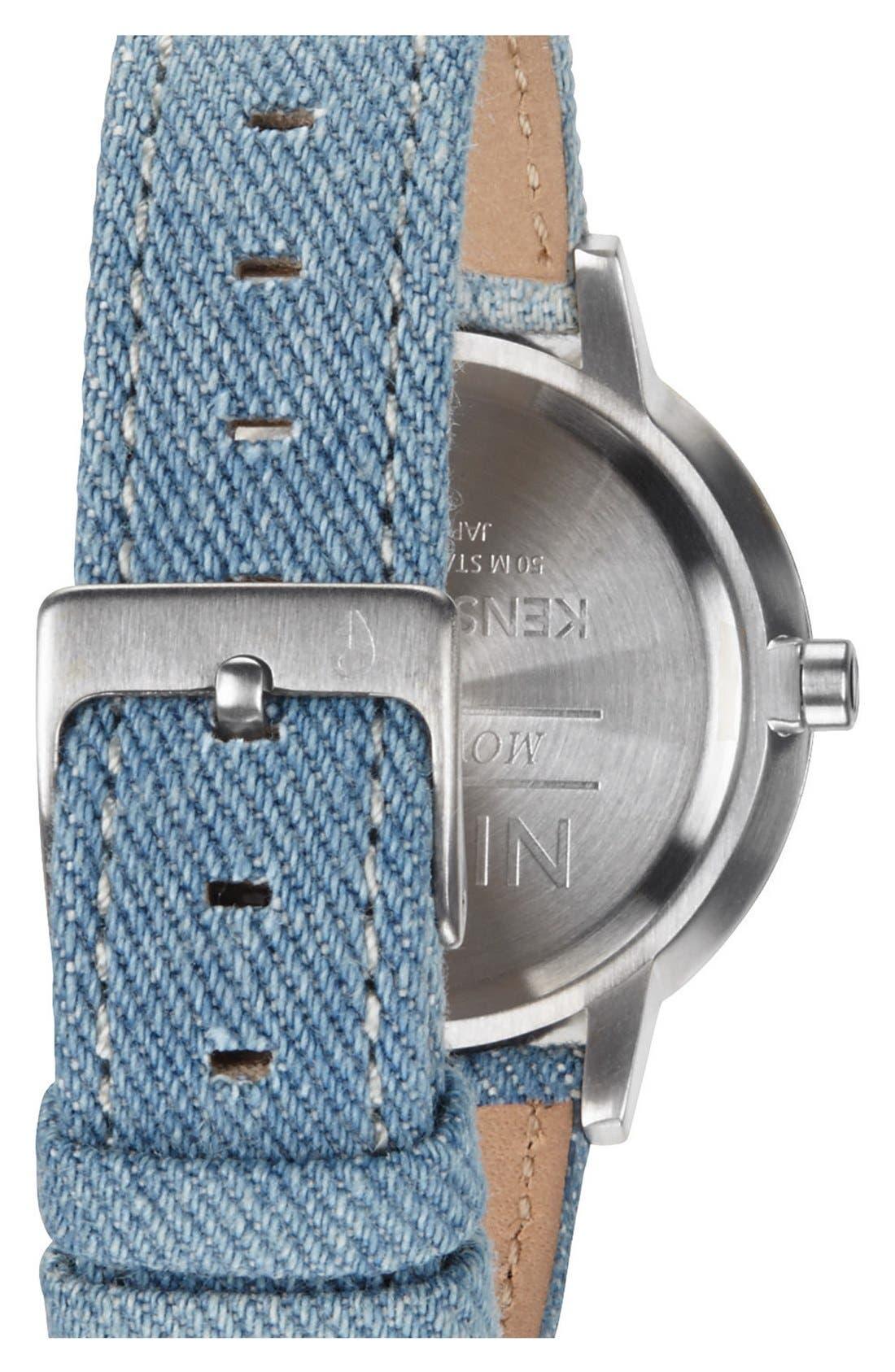 Alternate Image 2  - Nixon 'The Kensington' Denim Strap Watch, 37mm