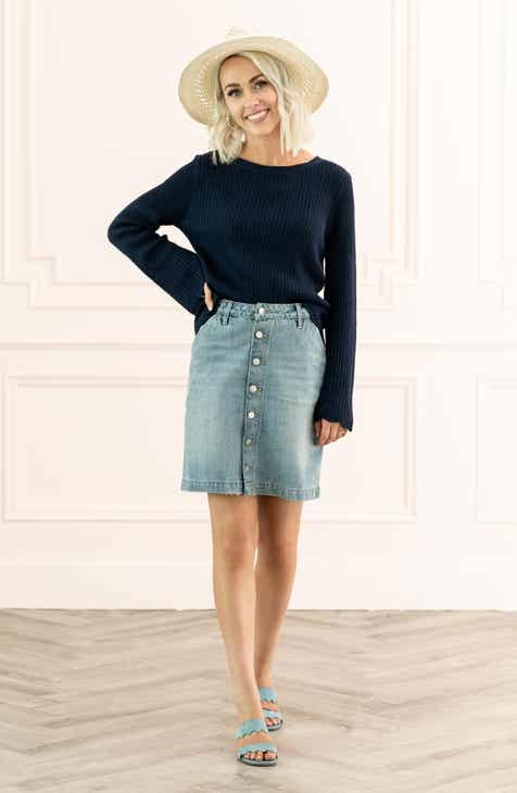 fc7822df0 Rachel Parcell Button Front Denim Skirt (Nordstrom Exclusive)
