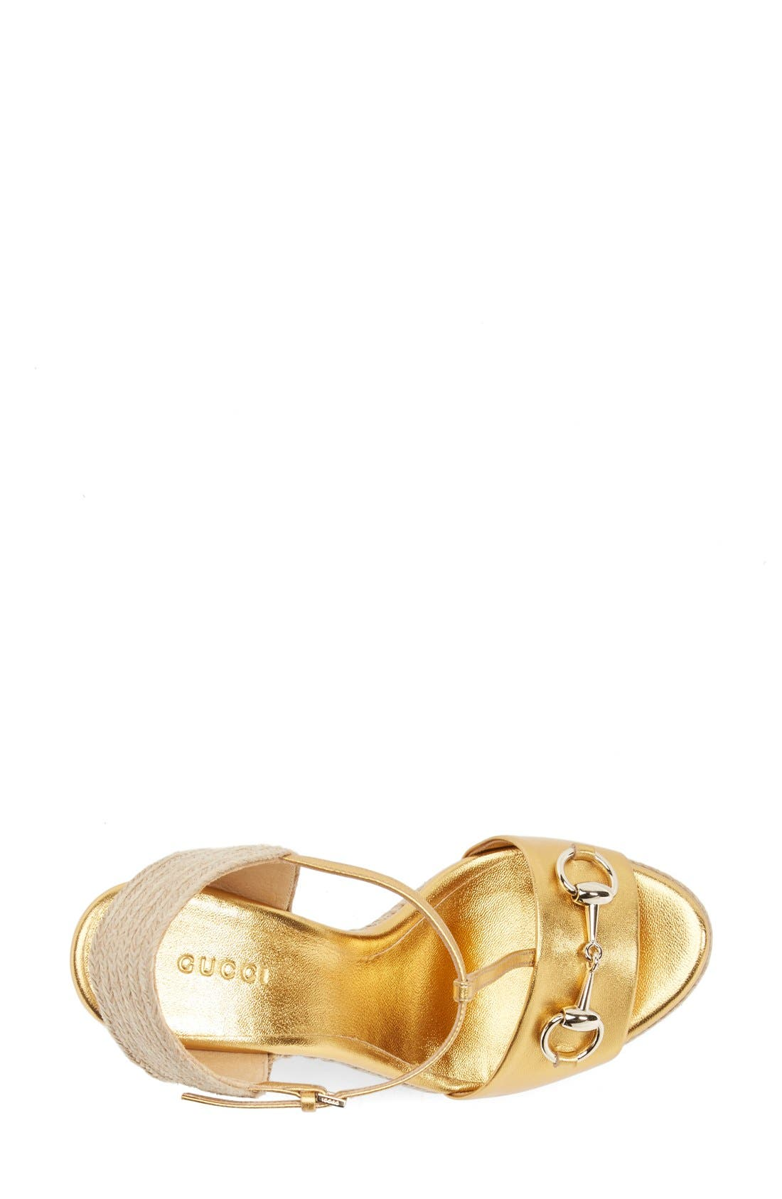 Alternate Image 3  - Gucci 'Rafia' T-Strap Wedge Sandal (Women)