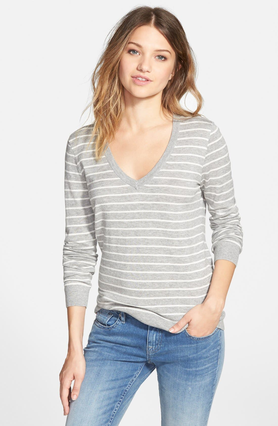 Alternate Image 1 Selected - BP. Stripe V-Neck Pullover (Juniors)