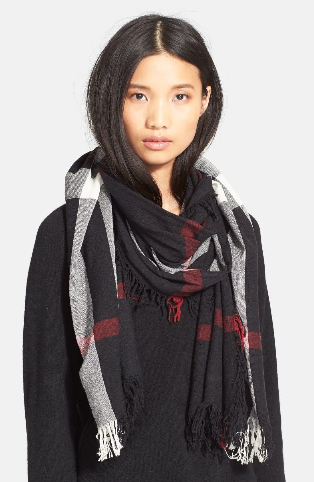 Check Merino Wool Scarf,                         Main,                         color, Black