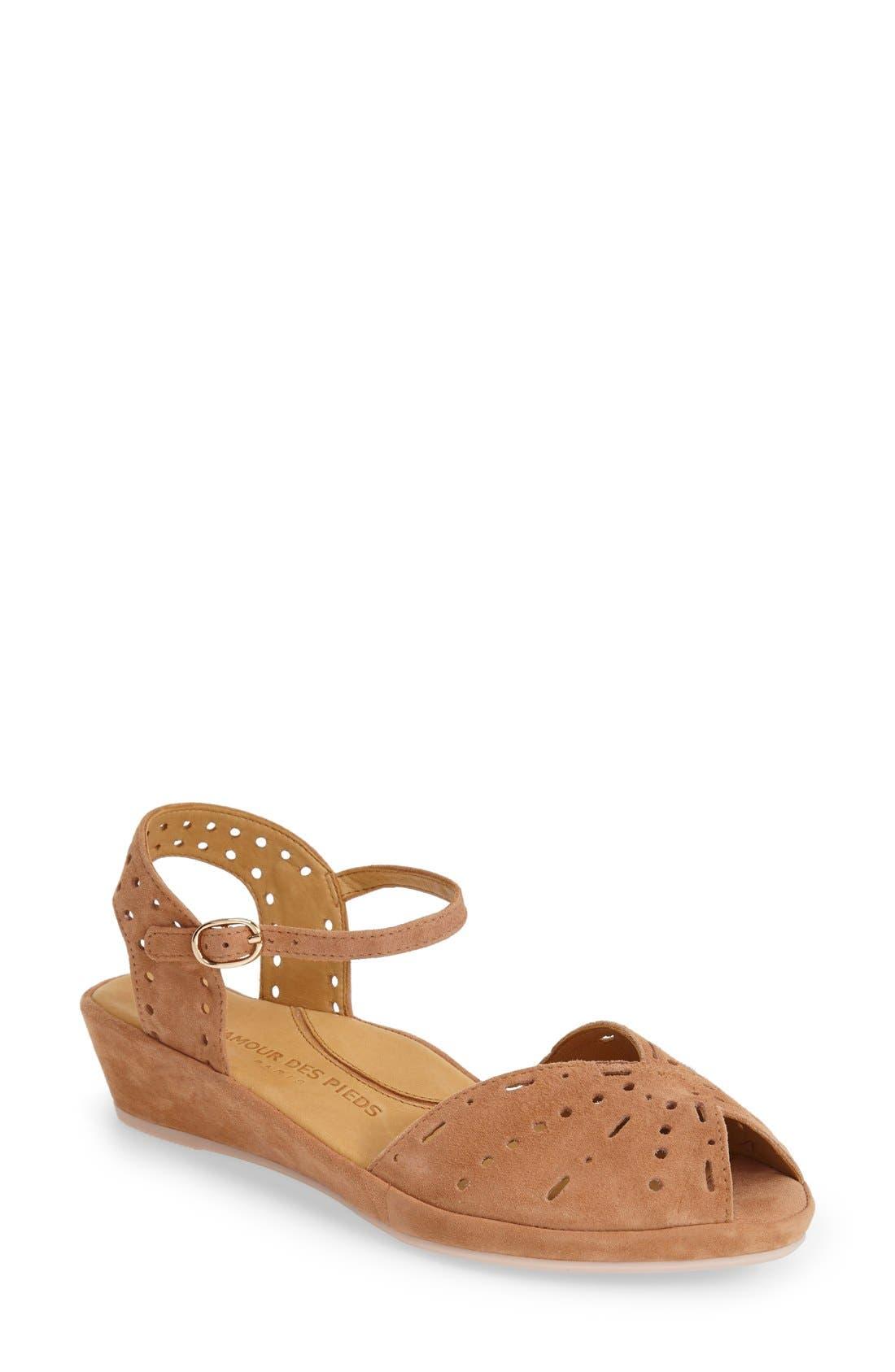 'Brenn' Ankle Strap Sandal,                         Main,                         color, Cognac Suede