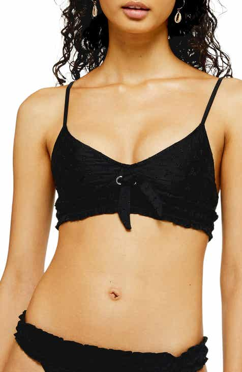 Topshop Broderie Anglaise Tie Bikini Top