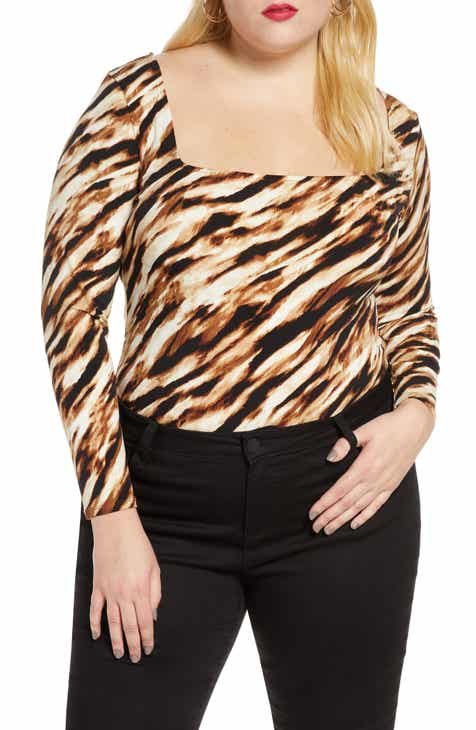 Leith Square Neck Long Sleeve Bodysuit (Plus Size)