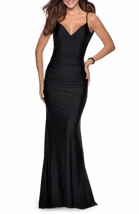 La Femme Open Back Jersey Trumpet Gown