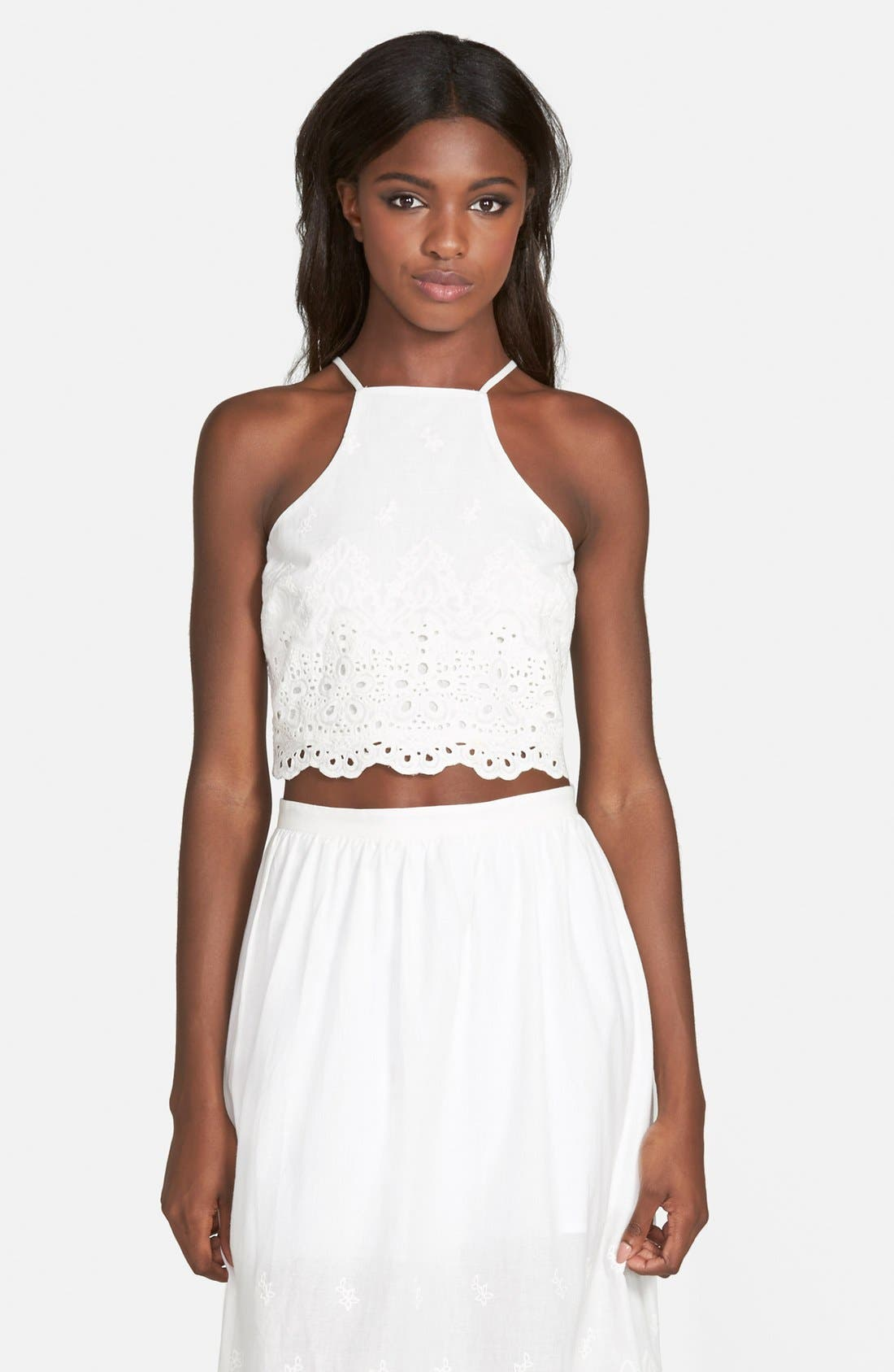 Alternate Image 1 Selected - Lucca Couture Eyelet Crop Halter Top