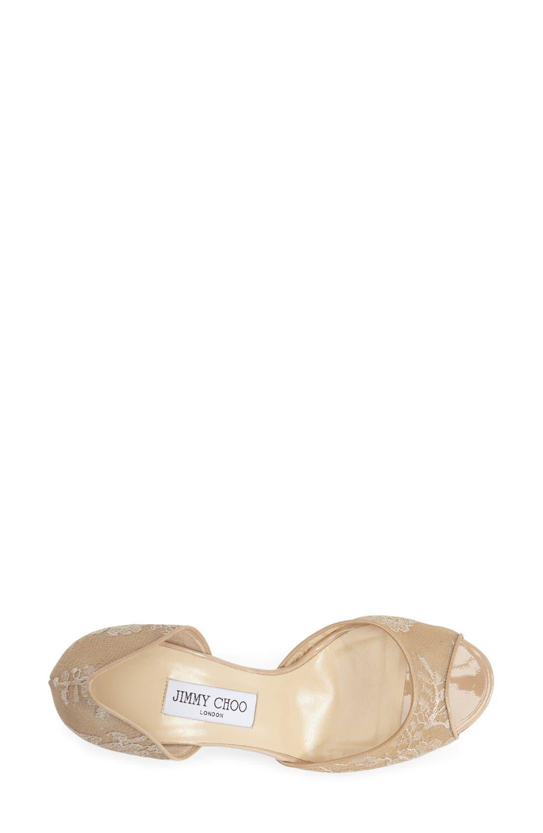 Alternate Image 3  - Jimmy Choo 'Lien' Lace Open Toe d'Orsay Pump (Women)