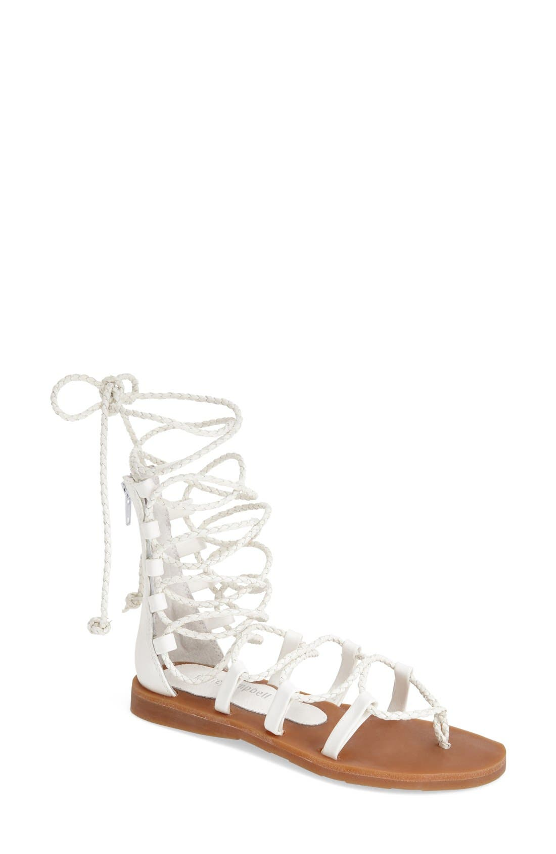 'Hola' Lace-Up Gladiator Sandal,                             Main thumbnail 1, color,                             White