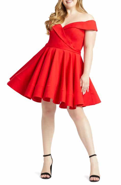 Mac Duggal Portrait Collar Skater Dress (Plus Size)