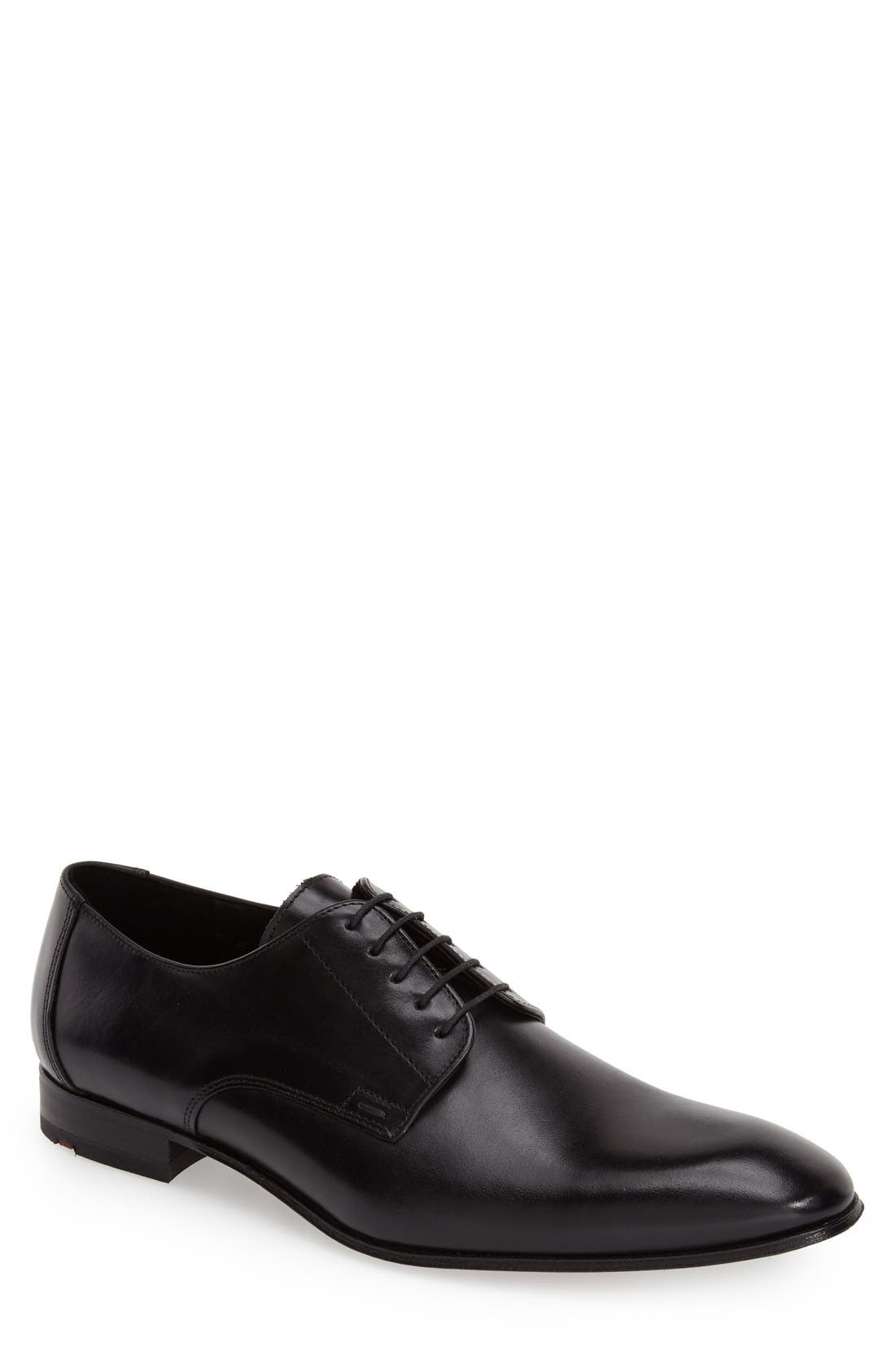 'Laurin' Plain Toe Derby,                             Main thumbnail 1, color,                             Black