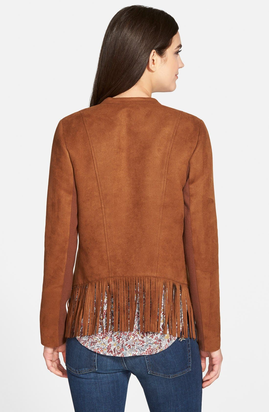 Fringe Faux Suede Jacket,                             Alternate thumbnail 3, color,                             Brown Toffee
