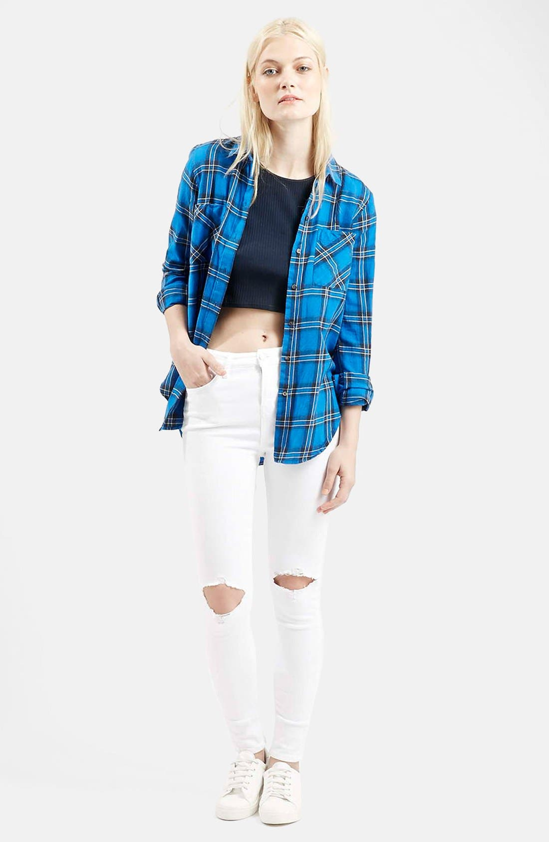 Alternate Image 5  - Topshop Moto 'Jamie' Busted Skinny Jeans (White)