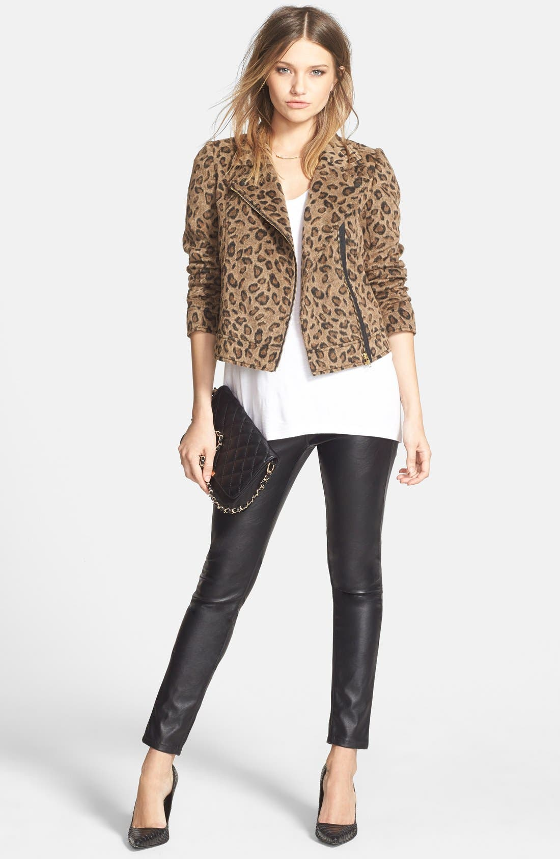 Leopard Print Moto Jacket,                             Alternate thumbnail 3, color,                             Tan Dale Leopard