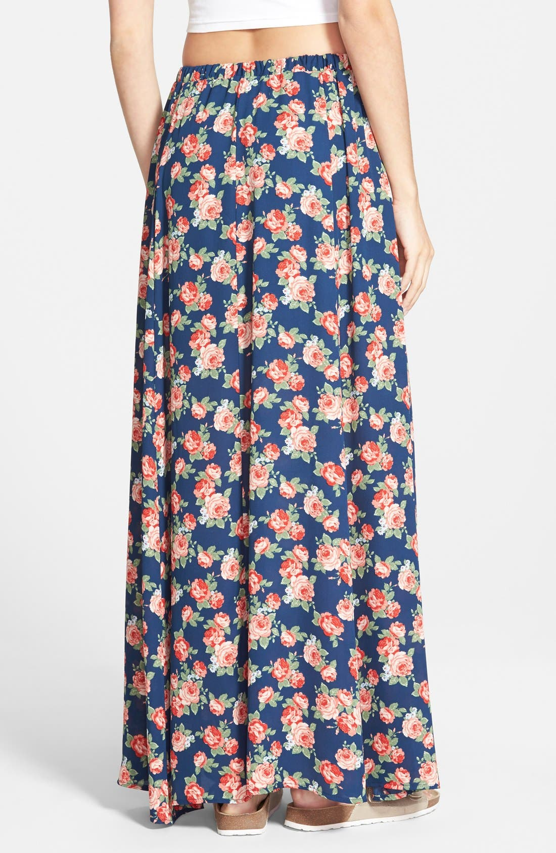 Alternate Image 2  - Lily White Floral Print Maxi Skirt (Juniors)