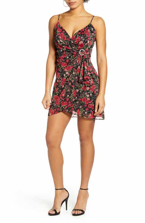 Row A Floral Jeweled Buckle Ruched Minidress