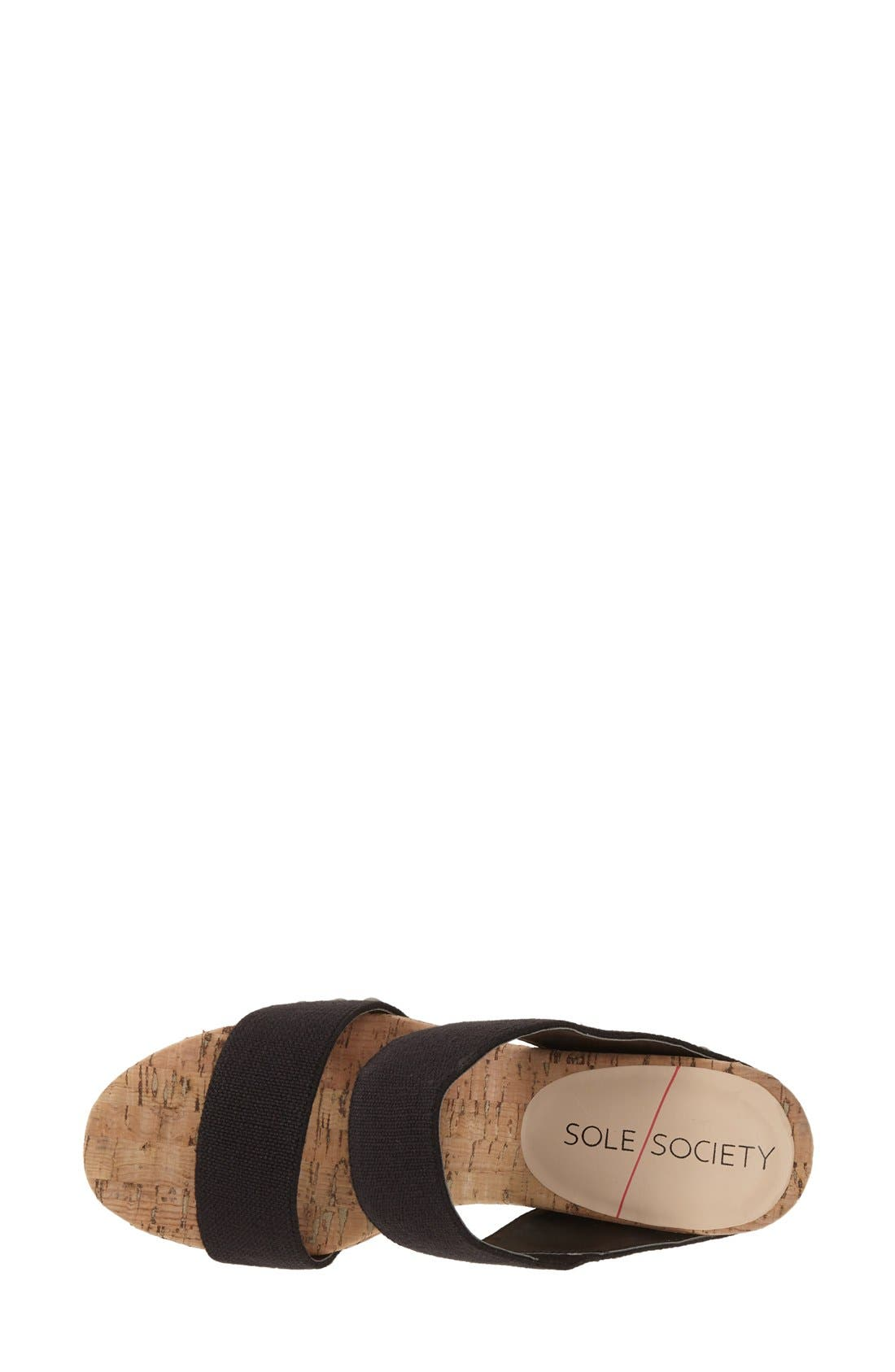 'Emilia 2' Wedge Sandal,                             Alternate thumbnail 3, color,                             Black