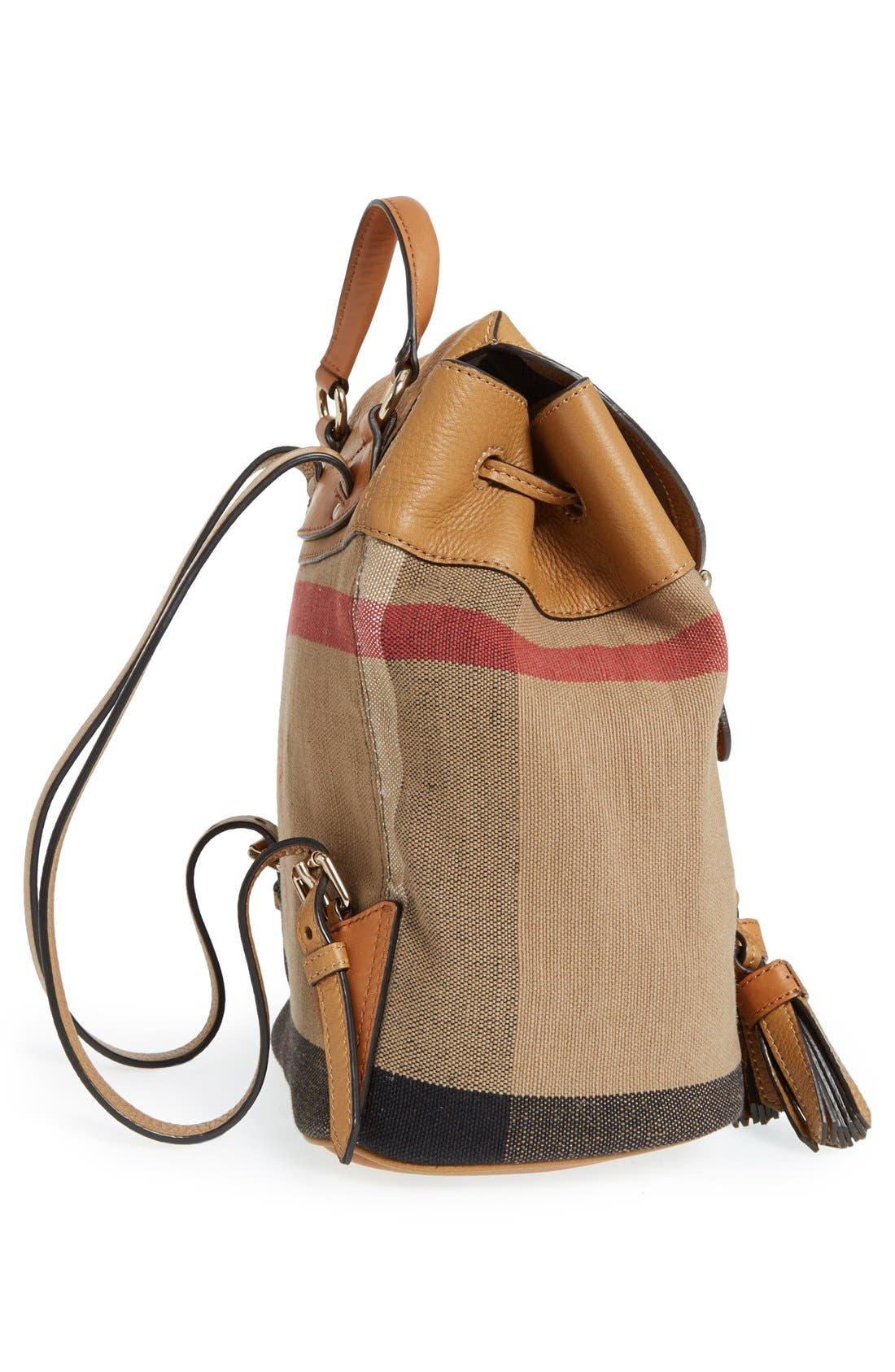 Alternate Image 3  - Burberry Check Print & Leather Mini Backpack (Kids)