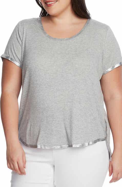 Vince Camuto Foil Rib Detail T-Shirt (Plus Size)