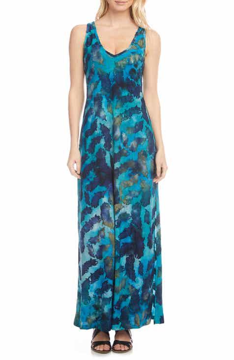 Karen Kane Tie Dye Burnout Sleeveless Maxi Dress