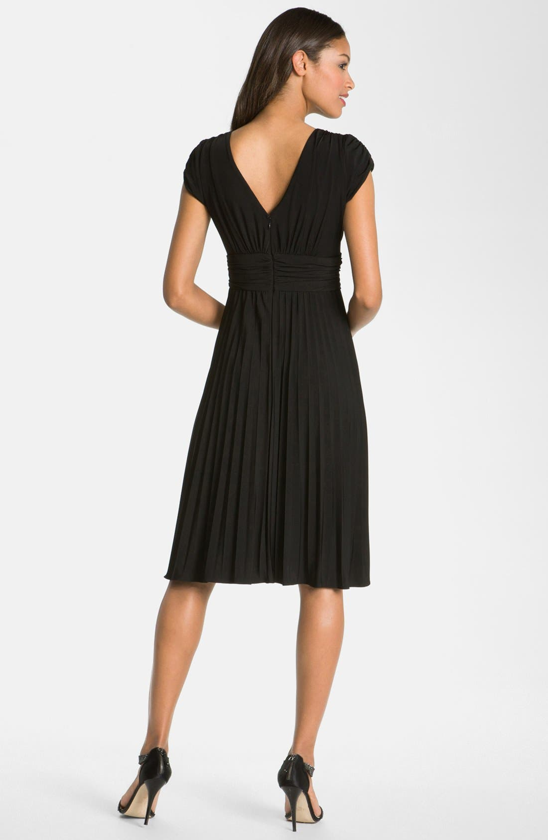 'Sunburst' Pleated Jersey Fit & Flare Dress,                             Alternate thumbnail 2, color,                             Black