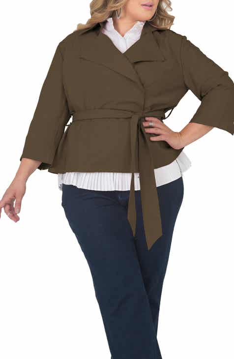 Standards & Practices Belted Crop Jacket (Plus Size)