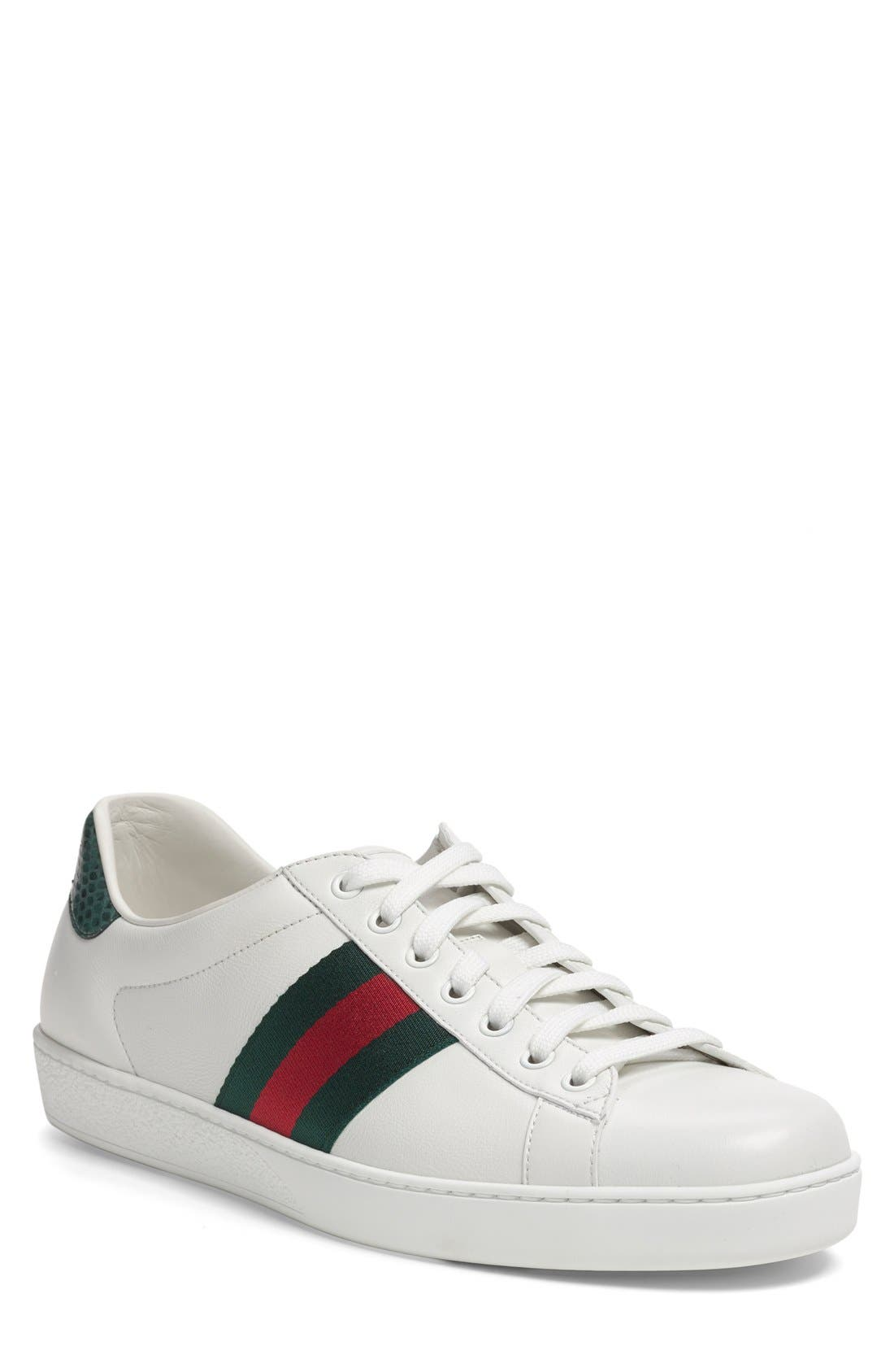 Gucci New Ace Sneaker (Men). WHITE LEATHER; BEIGE
