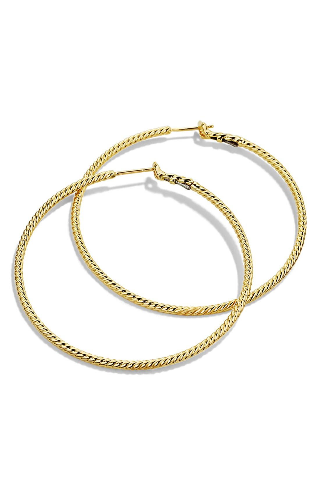 'Cable Classics' Hoop Earrings in Gold,                             Alternate thumbnail 2, color,                             Gold