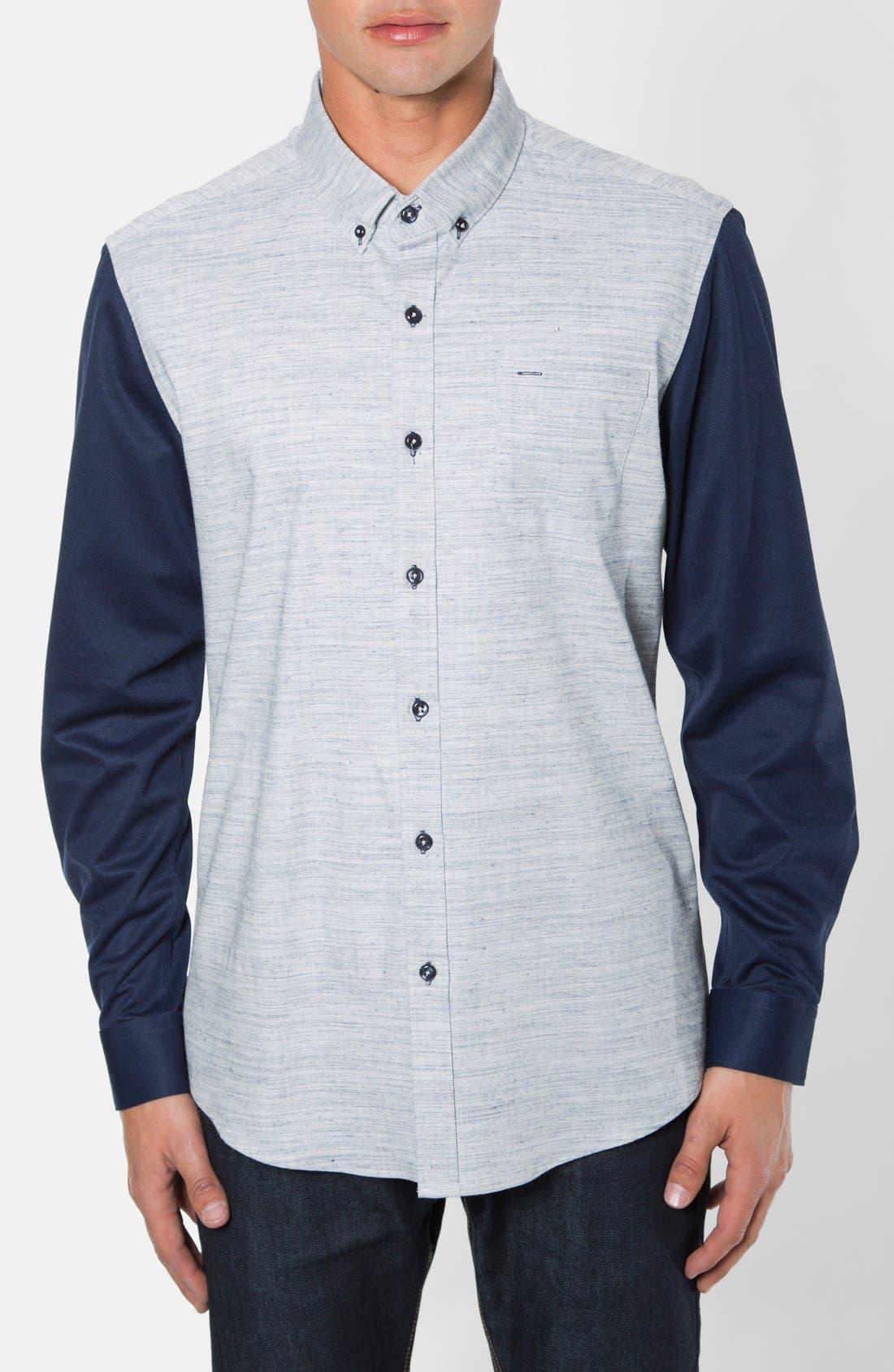 Waveforms Trim Fit Print Woven Shirt,                             Main thumbnail 1, color,                             Blue