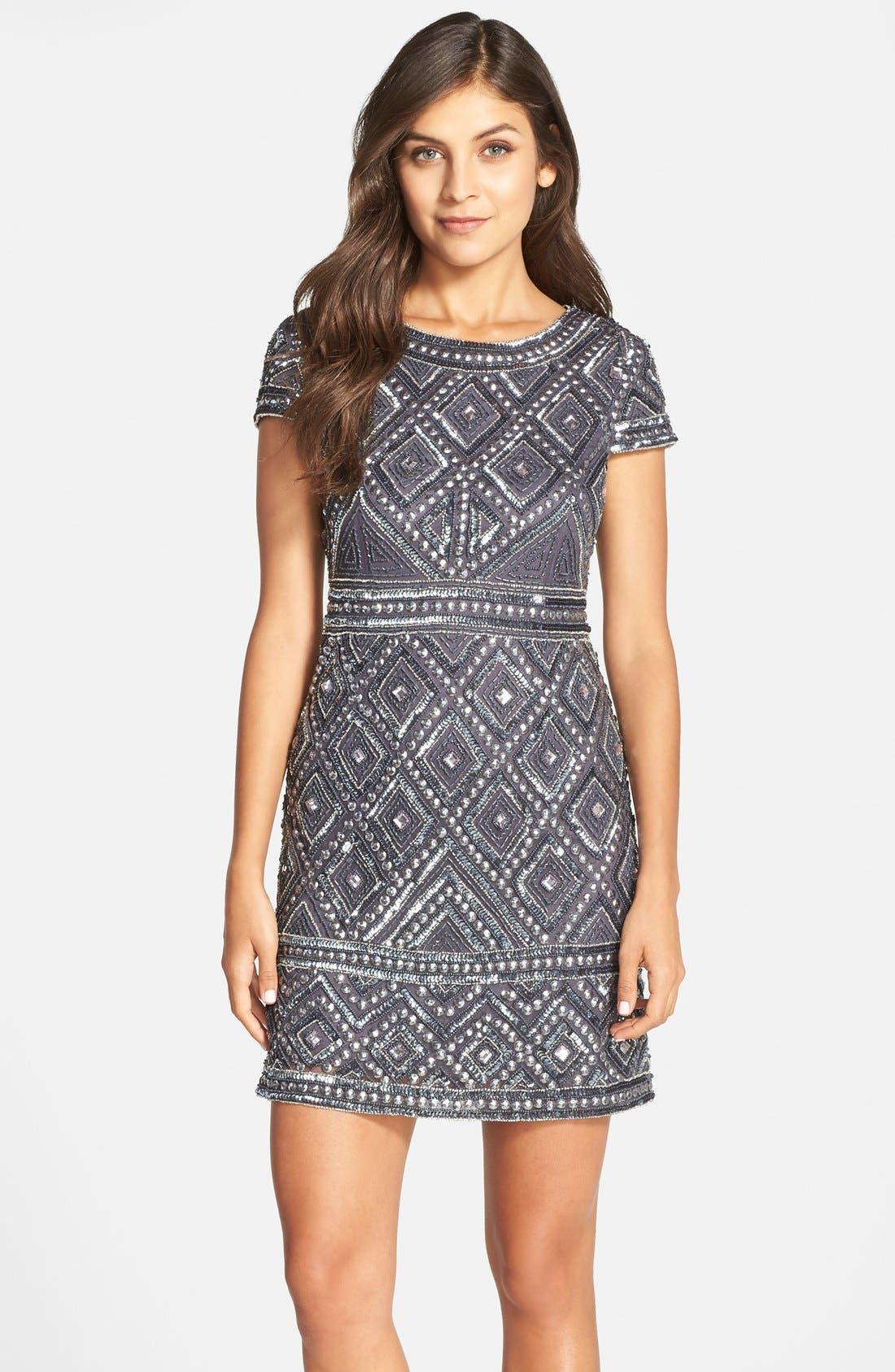 Main Image - Adrianna Papell Beaded Mesh Sheath Dress
