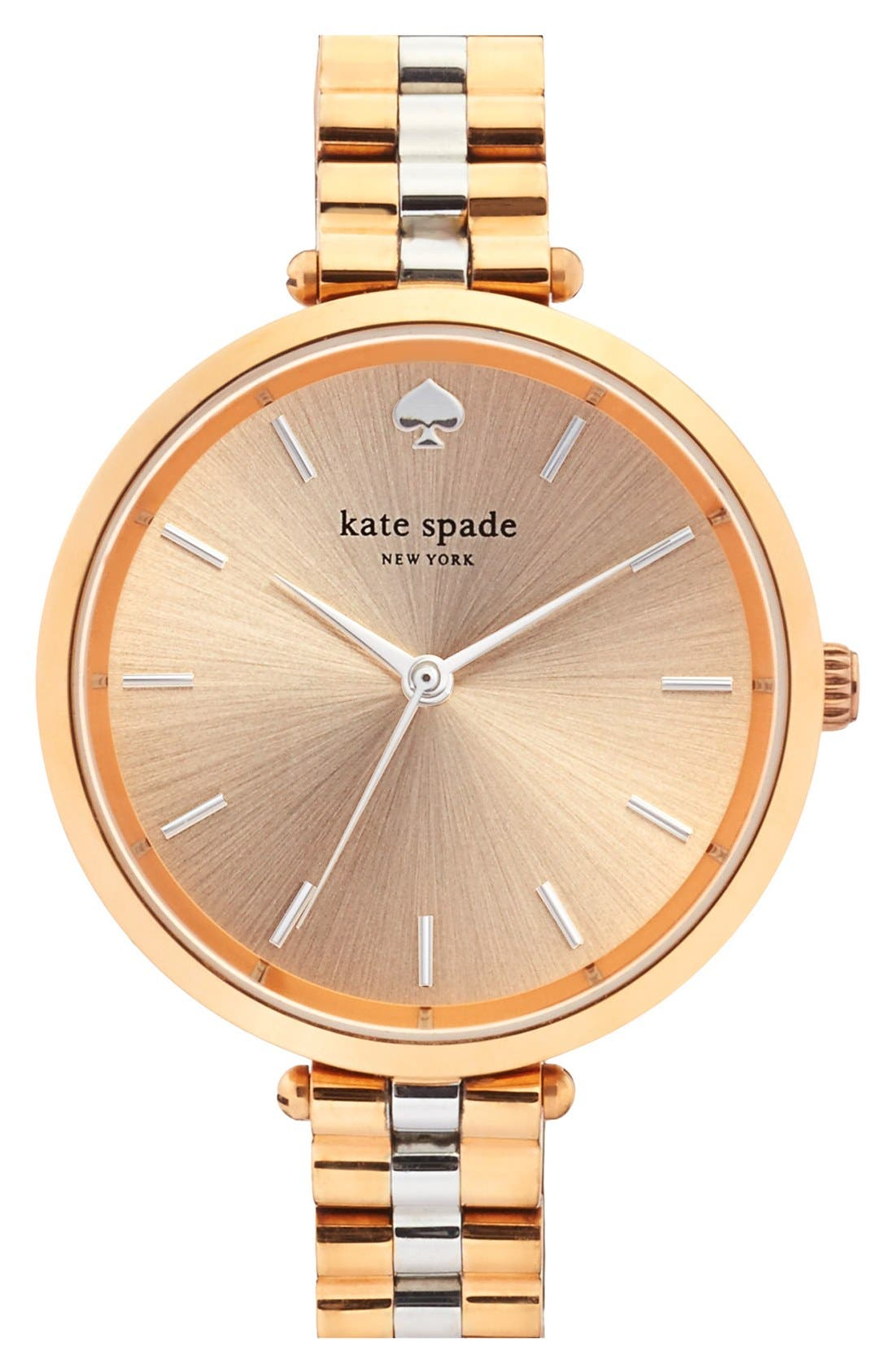 holland bracelet watch, 34mm,                             Main thumbnail 1, color,                             Rose Gold/ Silver