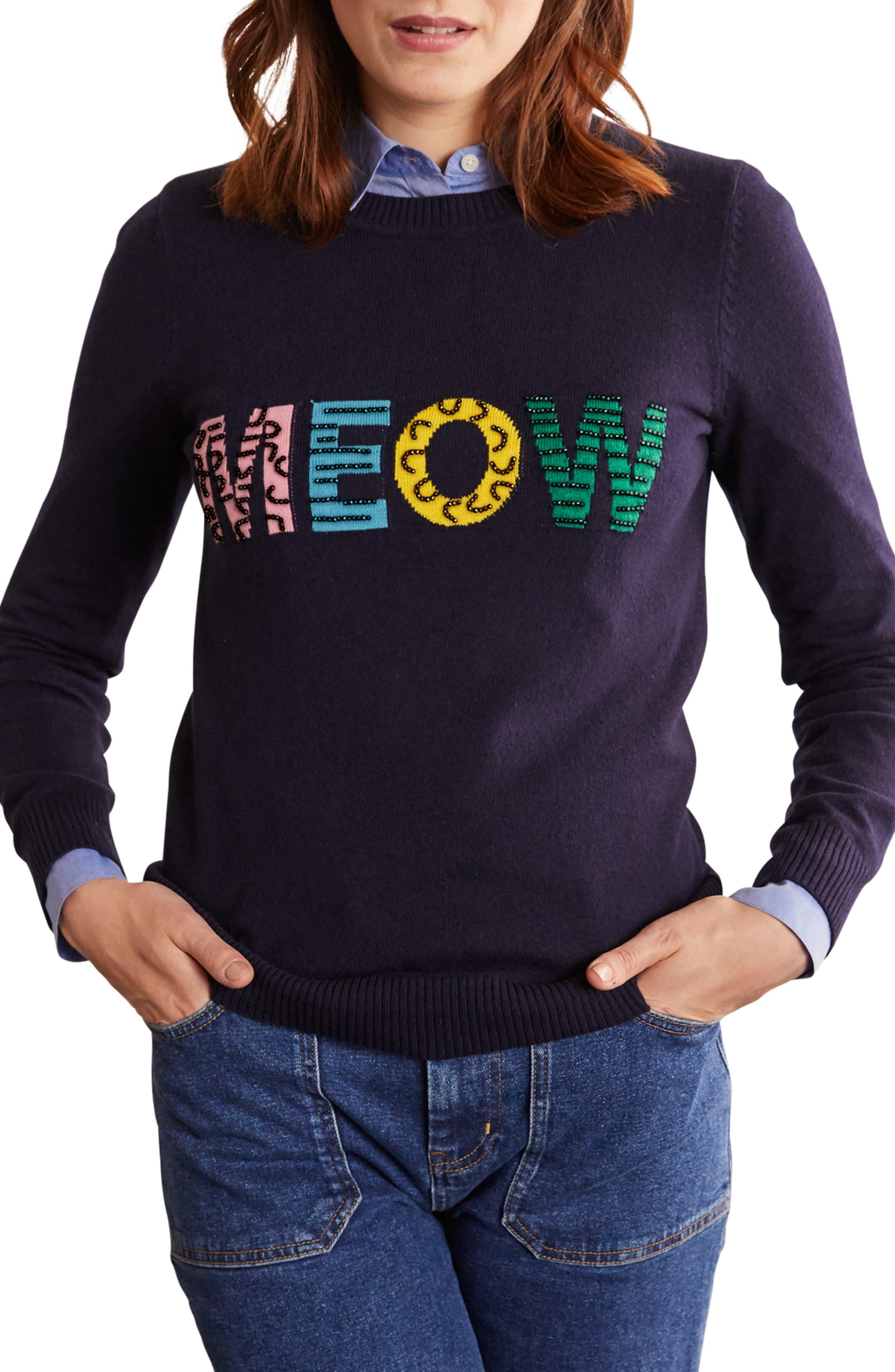 NAVY RED STAR Joules Monty Printed Crew Neck Sweatshirt