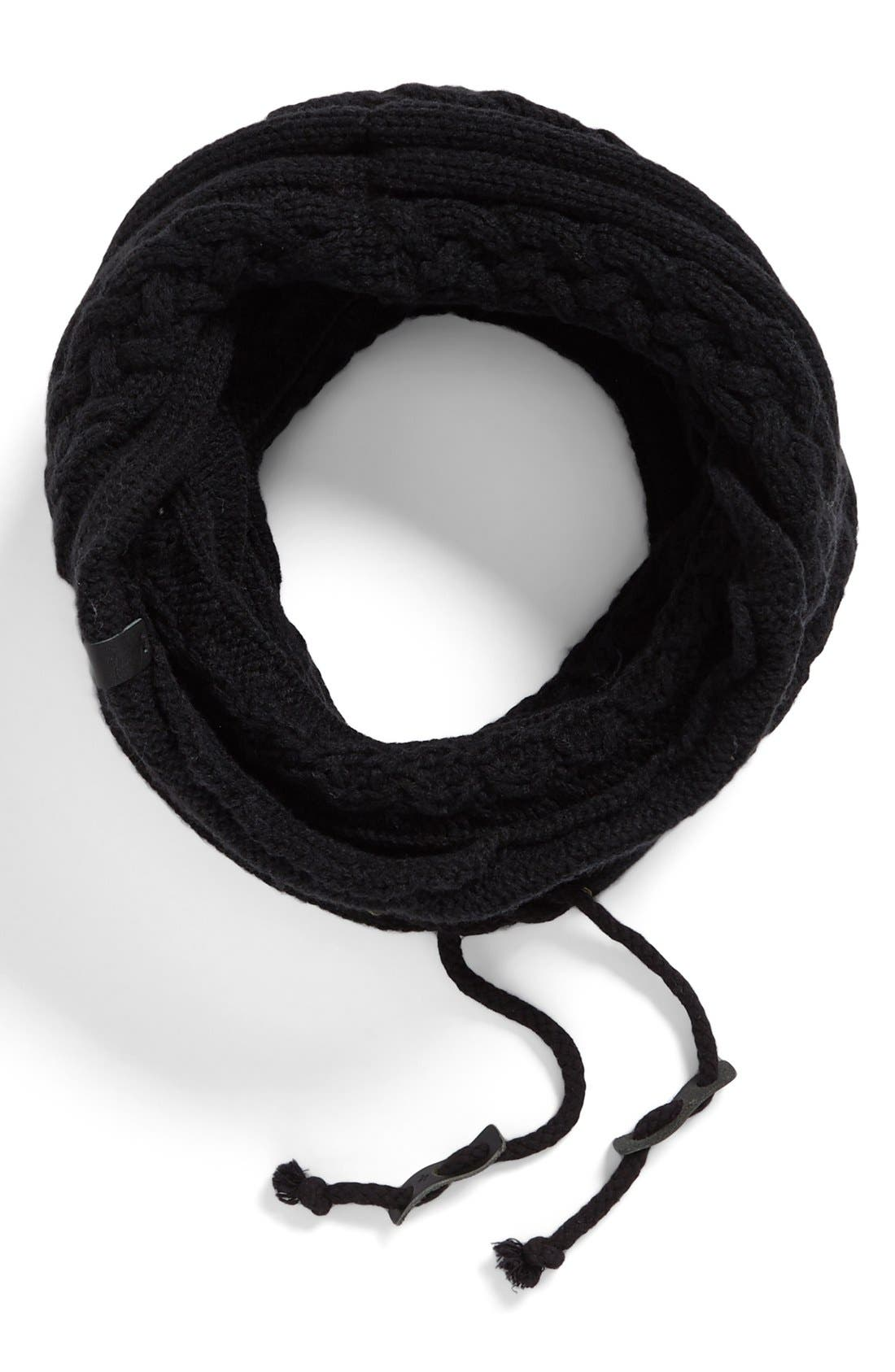 Cable Knit Drawstring Snood,                         Main,                         color, Black